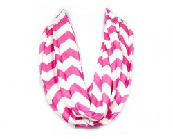 """Hot Pink Jersey Knit Chevron Infinity 2 Layer 10"""" Wide Scarf"""