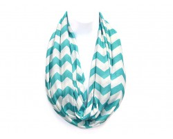 """Turquoise Jersey Knit Chevron Infinity 2 Layer 10"""" Wide Scarf"""