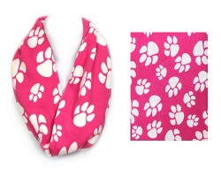 Hot Pink Paw Print Infinity Scarf