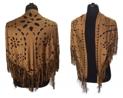Brown Suede Open cut Fringed Edge Shawl
