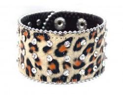 Leopard Leather Crystal Snap Bracelet