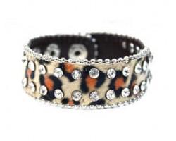 Brown Leopard Leather Crystal Snap Bracelet