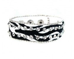 Black White  Zebra Leather Crystal Snap Bracelet