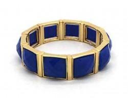 Blue Stone Gold Section Stretch Bracelet