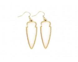 White Stone Arrow Head Gold Edge Hook Earrings