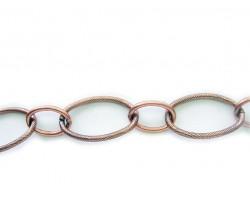 Antique Copper 22x35mm Oval Texture Chain