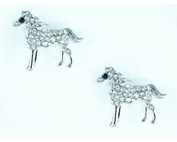 Silver Clear Crystal Horse Post Earrings