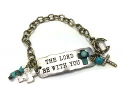 Antique Gold Lord Be with You Chain Bracelet