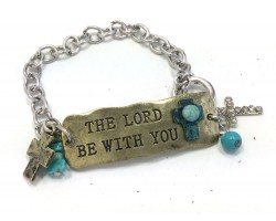 Antique Silver Lord Be with You Chain Bracelet