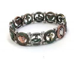 Patina Round Hope Love Fatih Stretch Bracelet