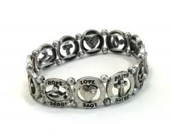 Silver Round Hope Love Faith Stretch Bracelet