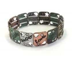 Patina Love Faith Hope Rectangle Stretch Bracelet