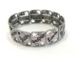 Silver Love Faith Hope Rectangle Stretch Bracelet