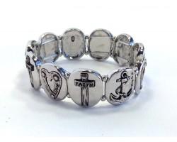 Silver Oval Anchor Heart Cross Stretch Bracelet