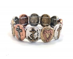 Tr-Color Oval Anchor Heart Cross Stretch Bracelet