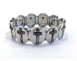 Silver Plate Oval Crosses Stretch Bracelet