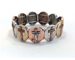 Tri-Color Oval Crosses Stretch Bracelet