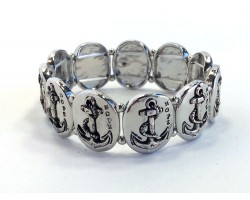 Silver Oval Anchors Stretch Bracelet