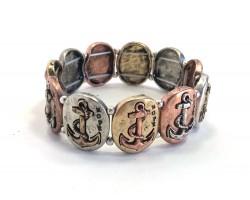 Tri-Color Oval Anchors Stretch Bracelet