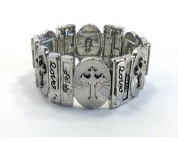 Silver Oval Cross Rectangle Stretch Bracelet