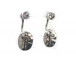 Silver Crystal Cross Oval FAITH Post Earring Jacket