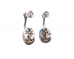 2-Tone Oval Anchor Clear Crystal Post Earring Jacket