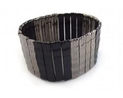 Black Two Tone Wavy Bar Stretch Bracelet