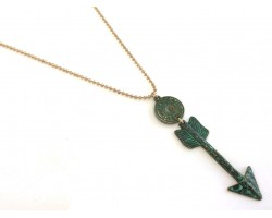 Patina Green Arrow Gold Plate Ball Chain Necklace