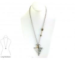 Two Tone Wire Wrap Arrow Head Chain Necklace