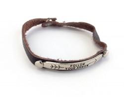Brown Silver Leather Follow Your Arrow Bracelet
