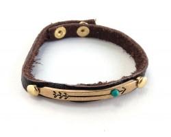 Gold Bar Turquoise Stone Arrow Leather Snap Bracelet