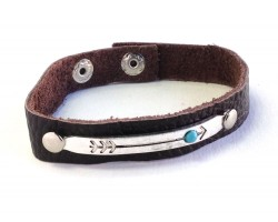 Silver Bar Turquoise Stone Arrow Leather Snap Bracelet