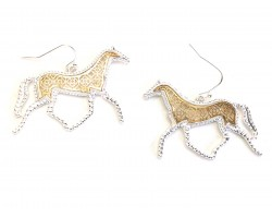 Gold Floral Pattern Silver Edge Horse Hook Earrings