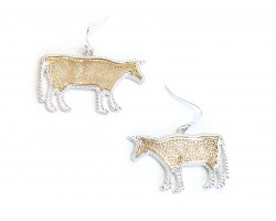 Gold Floral Pattern Silver Edge Cow Hook Earring