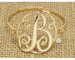Gold Plate Cursive Initial Bangle Bracelet
