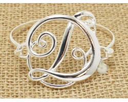 Silver Plate Cursive Initial Bangle Bracelet