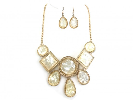 Gold Mother of Pearl Bib Style Necklace Set