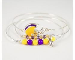 Purple & Yellow Football Charm 3 Band Bracelet Set