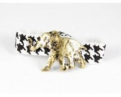 Gold Elephant Black White Houndstooth Ribbon Bracelet