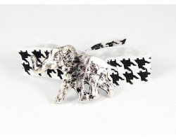 Silver Elephant Black White Houndstooth Ribbon Bracelet