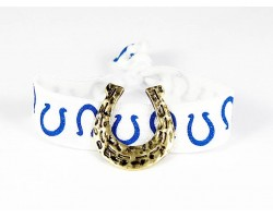 Gold Horseshoe Blue White Ribbon Bracelet