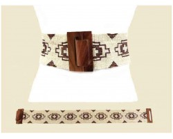 Ivory Multi Seed Bead Aztec Pattern Belt