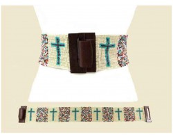 Ivory Multi Cross Seed Bead Belt