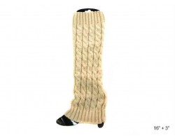 White Cable Pattern Leg Warmer Boot Topper