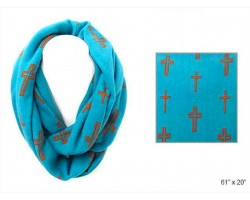 Turquoise Cross Infinity Heavy Knit Scarf