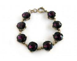 Amethyst Crystal Cabochon Gold Link Bracelet