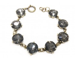 Black Diamond Crystal Cabochon Gold Link Bracelet