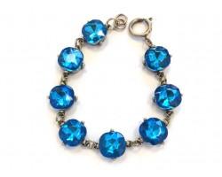 Capri Blue Crystal Cabochon Gold Link Bracelet
