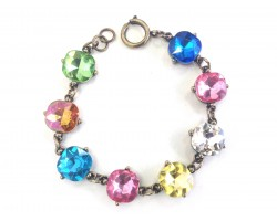 Multi Light Crystal Cabochon Gold Link Bracelet