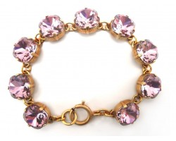 Rose Crystal Cabochon Gold Link Bracelet